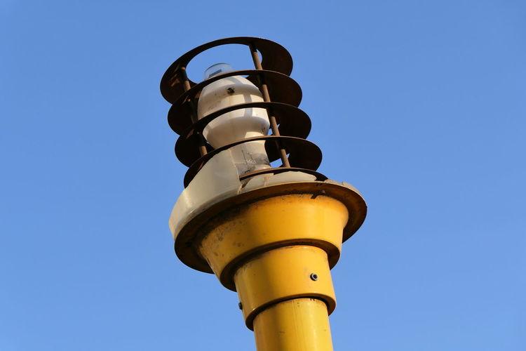 Yellow Lamp Street Light Broken Clear Sky Blue Sky Close-up