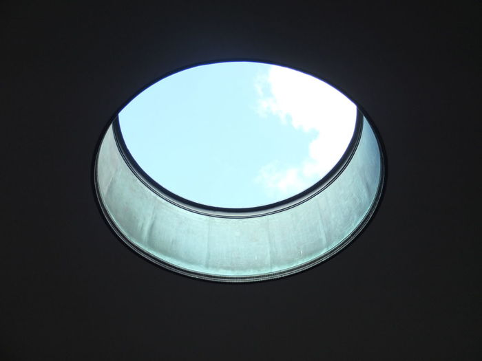 Abstract Ceiling Circle Close-up Cropped Design Directly Above Geometric Shape Glass - Material Glowing Hole Ideas Indoors  Metal Monument Part Of Pattern Roof Round Shaft Shiny Space Spiral Still Life Table