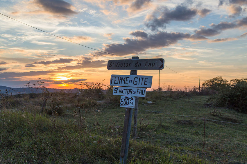 Farm Farm Life France Orange Sky Sunlight Sunset_collection Beauty In Nature Cloud - Sky Day Field Grass Guidance Landscape Nature No People Outdoor Photography Outdoors Road Sign Scenics Sky Sunset