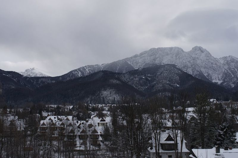 Giewont in Tatry Mountains Giewont Mountain Tree Plant Snow Sky Architecture Winter Cold Temperature Scenics - Nature Mountain Range Beauty In Nature Cloud - Sky No People Nature Snowcapped Mountain