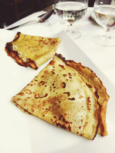 High angle view of crepe served in plate on table