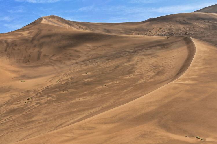 1178 tall megadune ridges overlook the e.shore of sumu barun jaran lake. badain jaran desert-china.