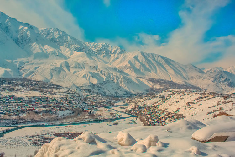 Scenic view of kargil town in ut ladakh india covered with snow in day time of a winter season