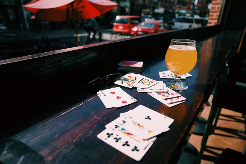 Cards, beer, autumn in Chicago // Table Drink Gambling Cards No People Drinking Glass Leisure Games Poker - Card Game Luck Chance Indoors  Gambling Chip Day Close-up