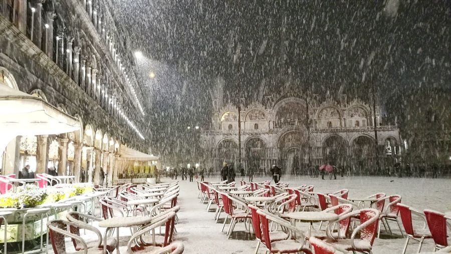 Snowy San Marco Square Snow Winter Cold Temperature Snowing Day Venezia San Marco Gondola Travel Tourist Illuminated Venice, Italy Architecture Sky Venezia Travel Destinations Winter Snow ❄ Italy Street Tourism People Chairs Basilica Square No People EyeEmNewHere