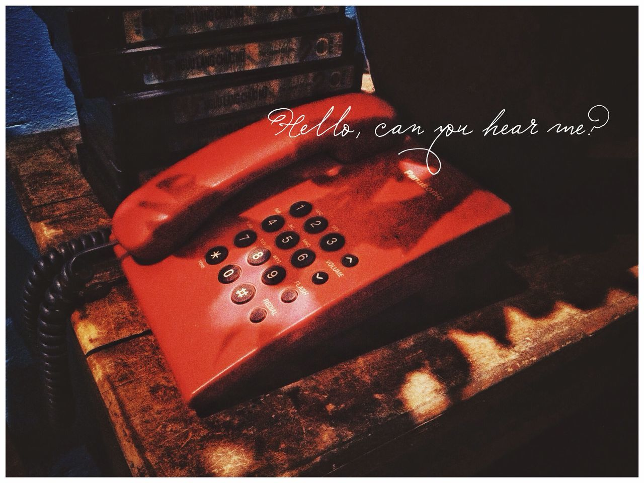 transfer print, auto post production filter, close-up, indoors, connection, technology, no people, communication, high angle view, number, table, metal, red, still life, single object, day, old, wireless technology, focus on foreground