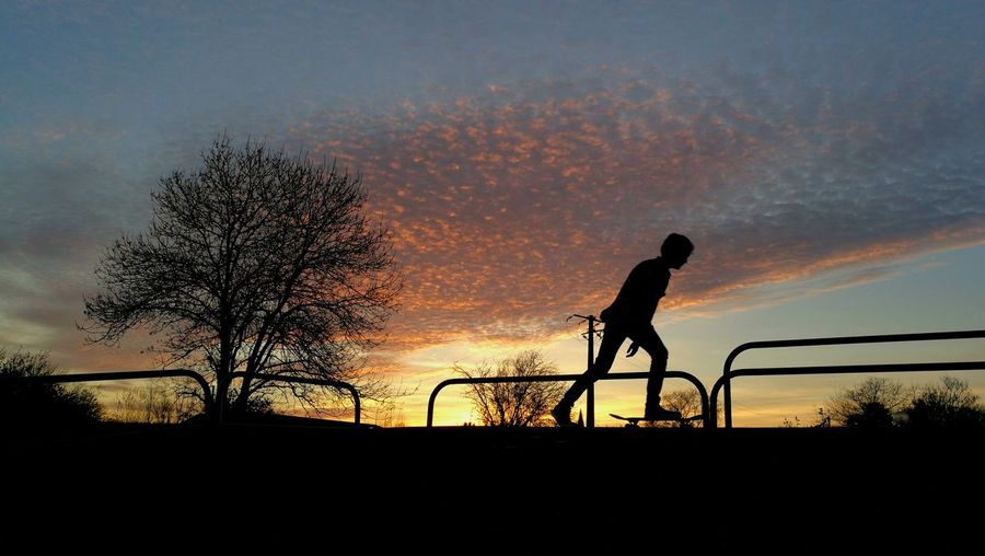 One Person Sky Sport Shadow Sunset Leisure Activity Silhouette One Man Only People Outdoors Nature Adults Only Sportsman Adult Only Men Day Golfer Skateboard