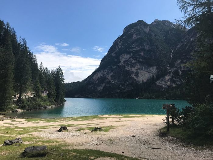 Park Braies Italy Water Tree Plant Sky Beauty In Nature Mountain Nature Real People Tranquil Scene Scenics - Nature Tranquility Beach Cloud - Sky Sunlight Transportation Day Land Lake Outdoors