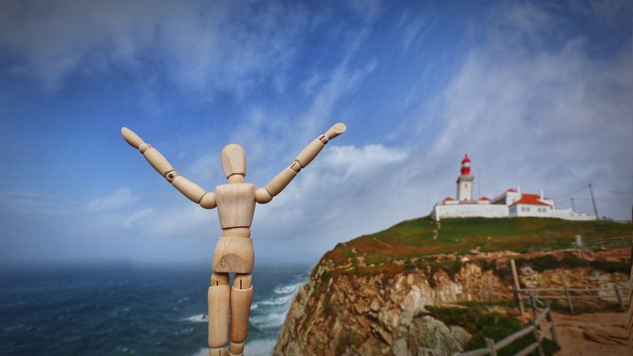 Feeling breeze at the end of Europe Cliff Atlantic Ocean Portugal Lighthouse Woodyforest Sky Belief Architecture Built Structure Cloud - Sky Scenics - Nature Tranquility