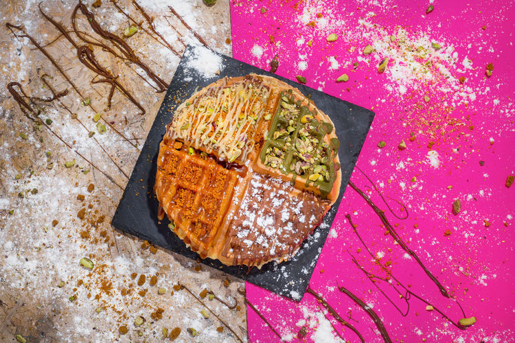 High angle view of waffle against two tone background