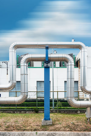 Steam pipelines Business Industrial Industry Architecture Building Built Structure Cloud - Sky Day Facility Factory Industry Insulation Manufacturing Metal Metallic Omega Loop Outdoors Pipe - Tube Pipe Support Sky Steel Pipe Steel Pipe On Wall Steel Structure  Supply