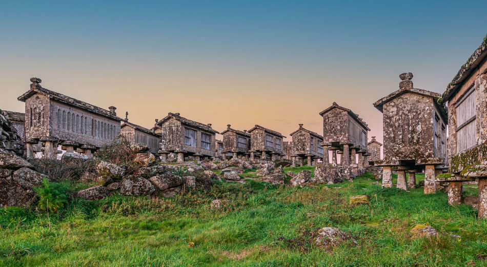Panoramic view of old buildings against sky