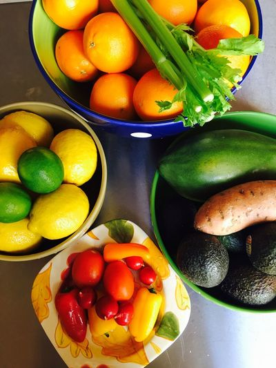 Directly above shot of fresh fruits and vegetables on table