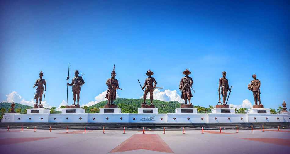 Panorama Ratchapak King's Memorial Park, Thailand. Art And Craft Blue Clear Sky Day Human Representation Male Likeness Memorial Men Outdoors Sculpture Sky Statue Travel Destinations
