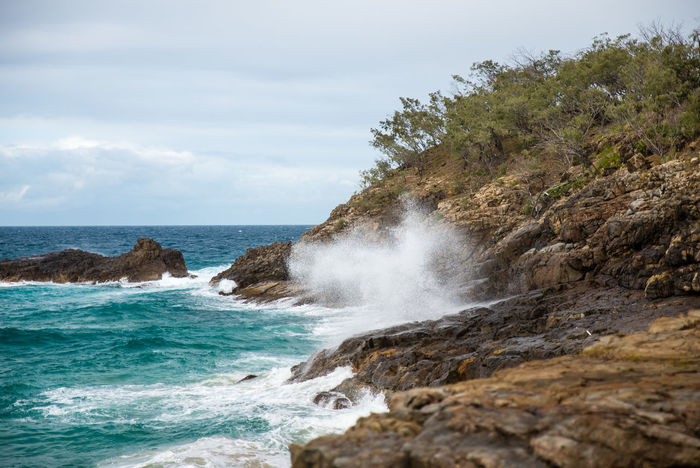Australia Beach Beauty In Nature Day Horizon Over Water Landscape Nature No People Noosa Outdoors Power In Nature Rock Rock - Object Rock Formation Sand Scenics Sea Sea And Sky Sky Spray Water Waterfront Wave Wave Waves Crashing