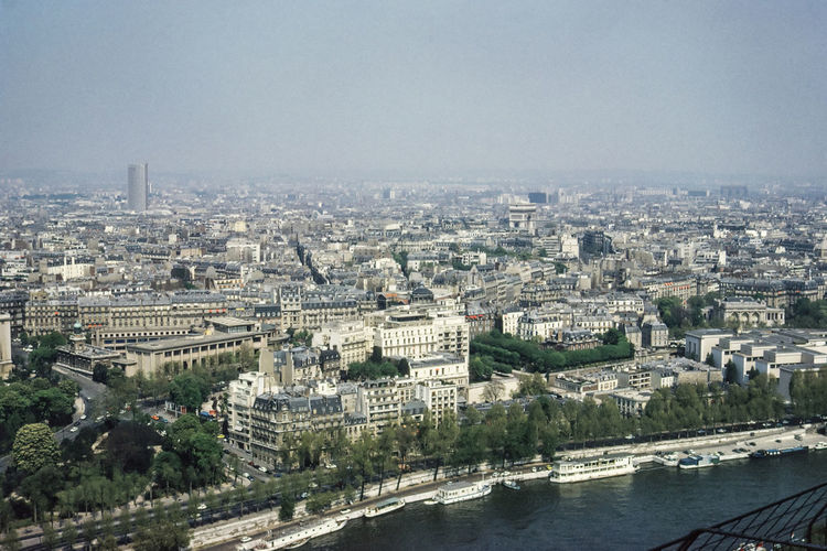 High angle view of seine river by buildings in city