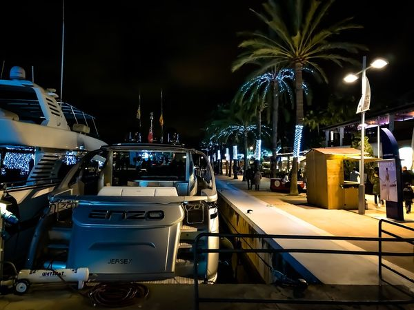 Porto Portals Luxury Yacht Night Illuminated Palm Tree Outdoors No People Sky