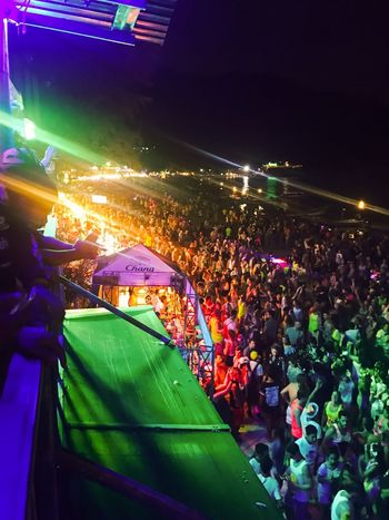 Thailand Full Moon Party Beach Illuminated Large Group Of People Night Excitement Outdoors Party Khophangan Beach Life
