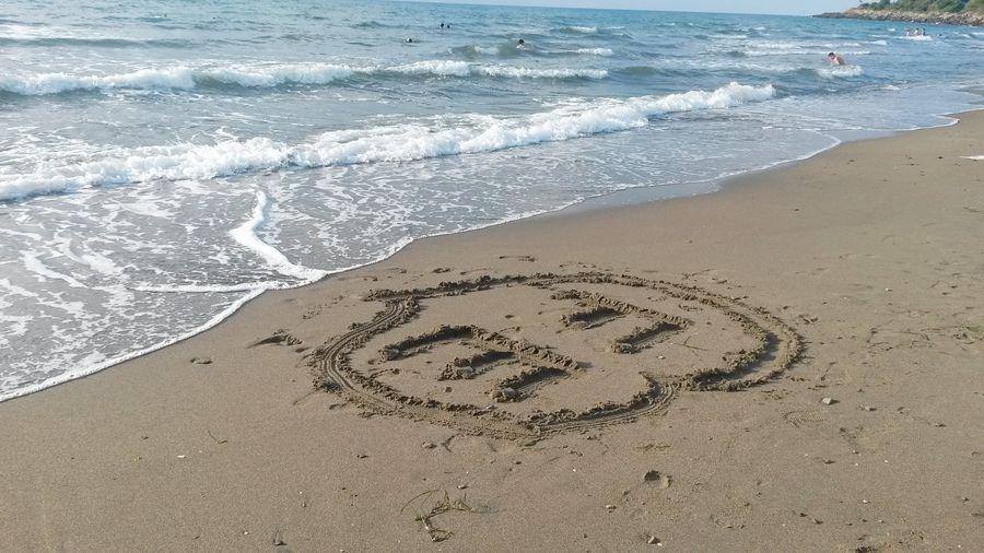💜 Love Heart EyeEm Best Shots EyeEm Gallery EyeEm Selects EyeEmBestPics Water Wave Sea Beach Sand Communication Text High Angle View Message Single Word Drawn