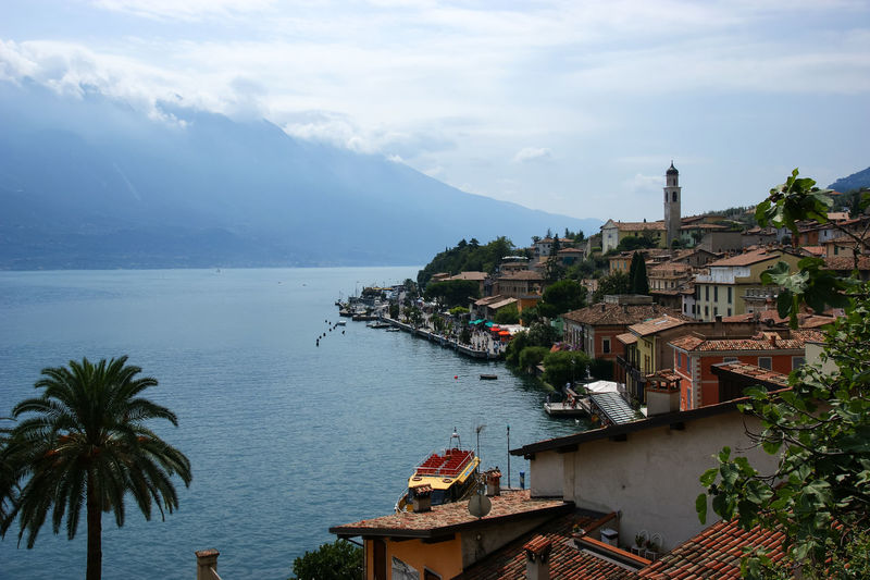 View of limone sul garda village waterfront