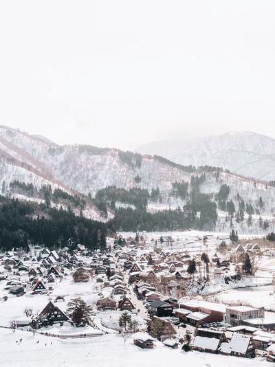 Postcard worthy shot of Shirakawago village Snow Winter Cold Temperature Nature Mountain Landscape Built Structure Scenics No People Outdoors Tranquility Town House High Angle View Beauty In Nature Building Exterior Tranquil Scene Rural Scene Day Weather