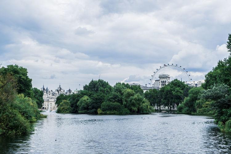 River at st james park against millennium wheel