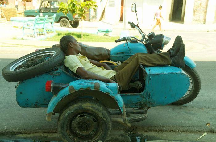 Siesta 01 Caribian Colorful Cuba Parked People, People,street Resting Time Santiago De Cuba Street Photography
