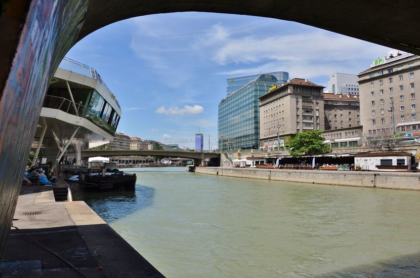 River View Arch Arch Bridge Architecture Bridge Bridge - Man Made Structure Building Building Exterior Built Structure City Cloud - Sky Connection Day Donaukanal Incidental People Mode Of Transportation Nature Outdoors River Riverside Photography Sky Transportation Vienna_city Water Waterfront