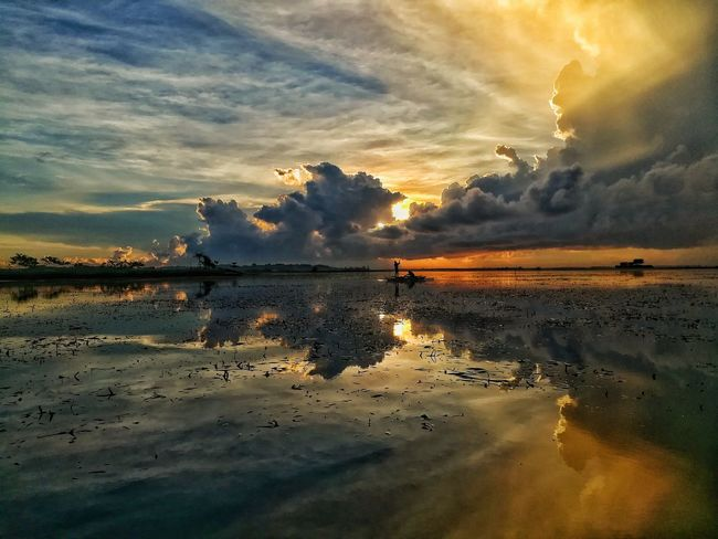 """""""Aquious Transmission's Reflection."""" EyeEm Best Shots EyeEmNewHere Reflections In The Water Sky Sunrise_Collection Sunrise_sunsets_aroundworld Sunrise Silhouette Sunshine Sillhouttes And Sky Silhouette Sailing Reflection Sunrise Morning Sailboat Calm Reflection_collection Reflections Sunset Reflection Cloud - Sky Nature Sky Water Beauty In Nature Low Tide Scenics Sea Day Outdoors"""