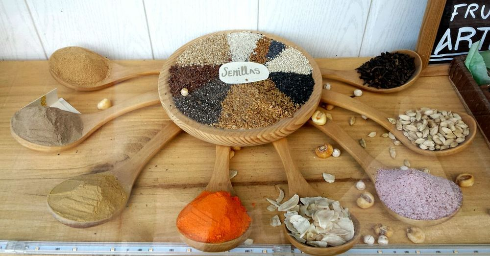 High angle view of seeds on window display at store