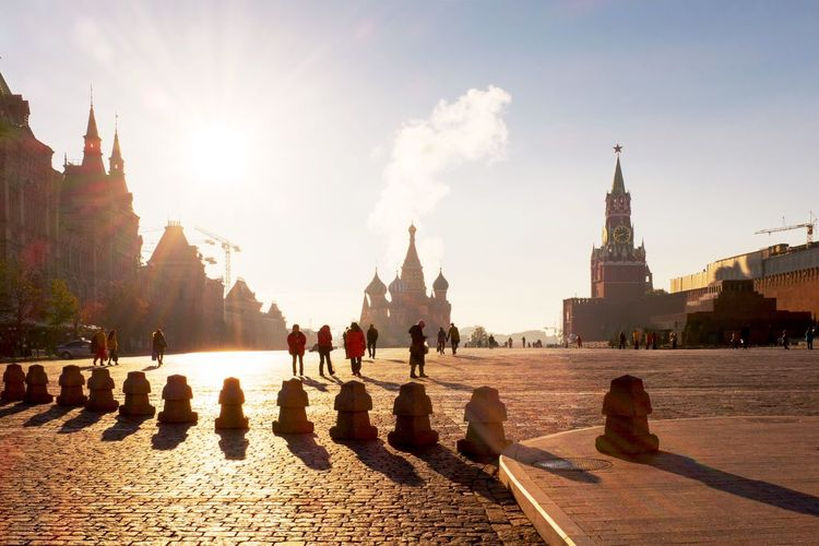 People At Red Square Against Sky
