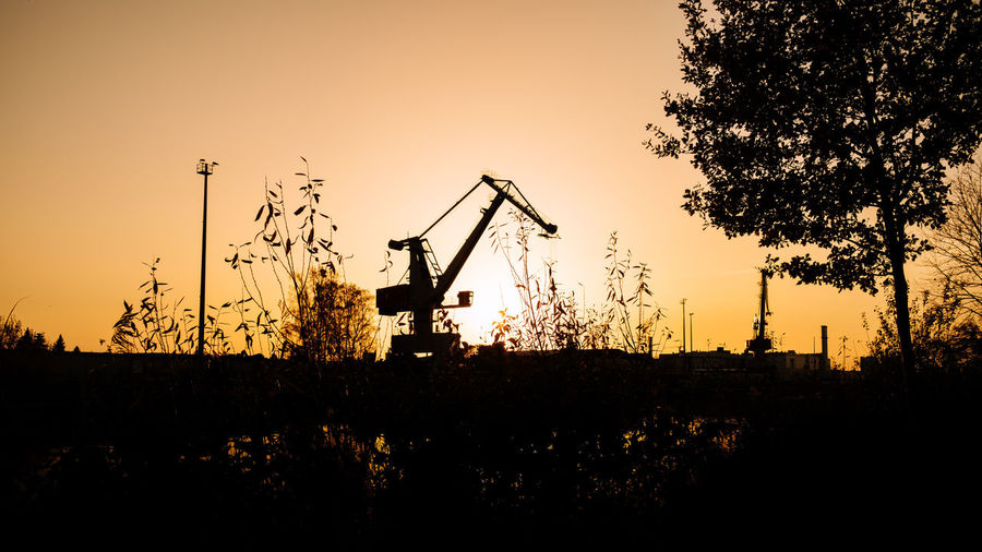 Silhouette of cranes on field against sky at sunset