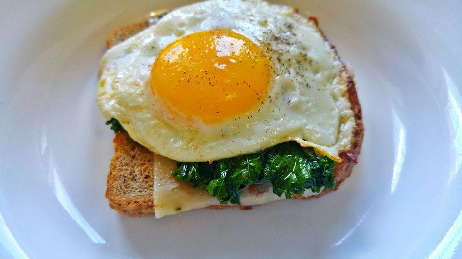 Ezekiel Pepperjack Kale Sunnysideup Egg Breakfast Food Porn Food Photography In My Mouf Nom Nom Nom