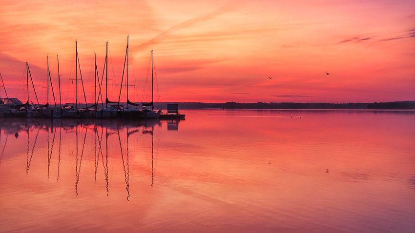 Schwerin Mecklenburg-Vorpommern Schweriner See lake schwerin lake sunrise sailing boat reflection water reflection Water Sun Tranquility Orange Color Idyllic Beauty In Nature Horizon Over Water Happy Thankful