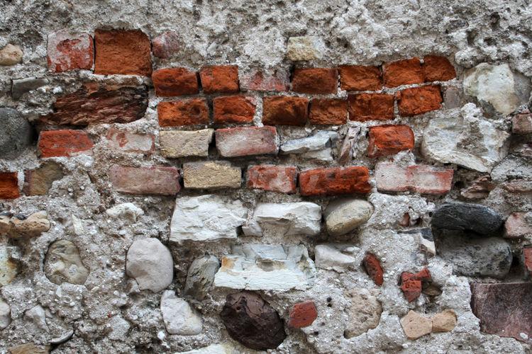Full frame shot of damaged brick wall