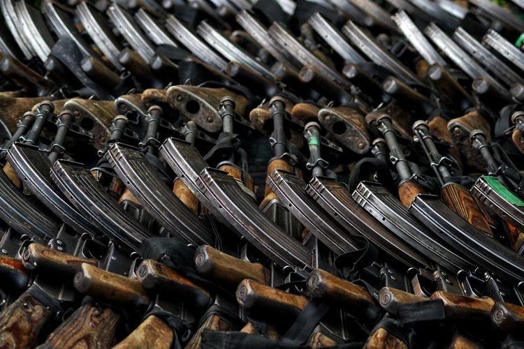 Full frame shot of machine guns