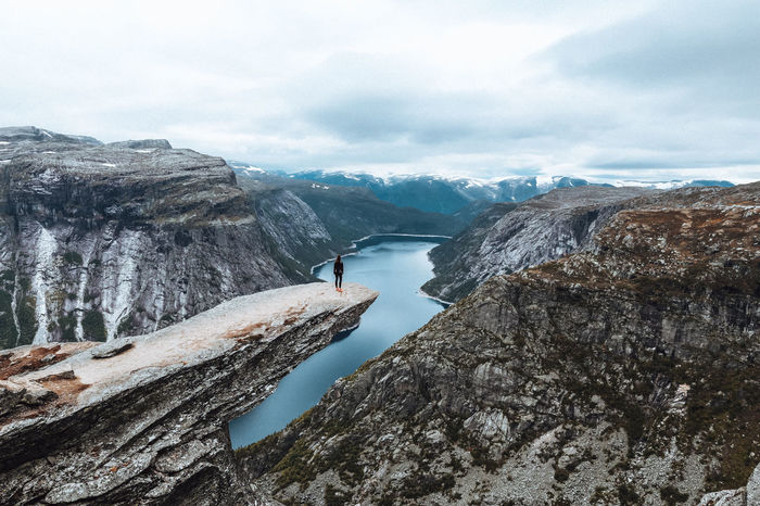 Trolltunga hike view point EyeEm Nature Lover EyeEmNewHere Hiking Norway Travel Traveling Adventure Beauty In Nature Cliff Fjord Fjords Glacial Hike Hikingadventures Mountain Nature One Person Outdoors Rock - Object Scenics Tranquility Trolltunga Trolltunga Norway Hiking Viewpoint Water Fresh On Market 2017