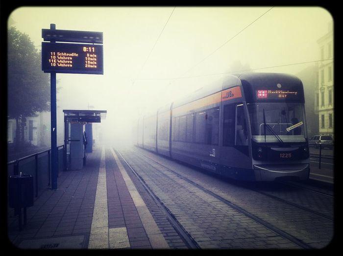 Foggy Traveling Waiting Tram Goodmorning