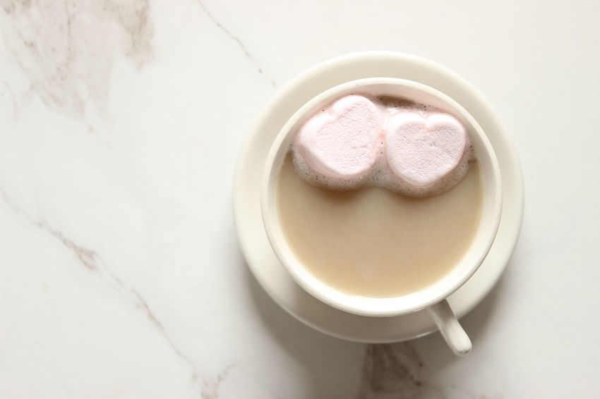 Two hearts Close-up Drink February Food And Drink Food And Drink Frothy Drink Greeting Card  Hearts High Angle View Hot Chocolate Hot Cocoa  Indoors  Latte Love Marble Marshmallows No People Overhead Overlay Pink Hearts Refreshment Romance Template Valentine's Day  Whimsical