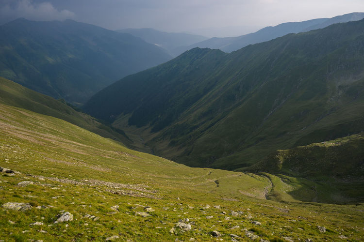 Scenic view of fagaras mountains against sky