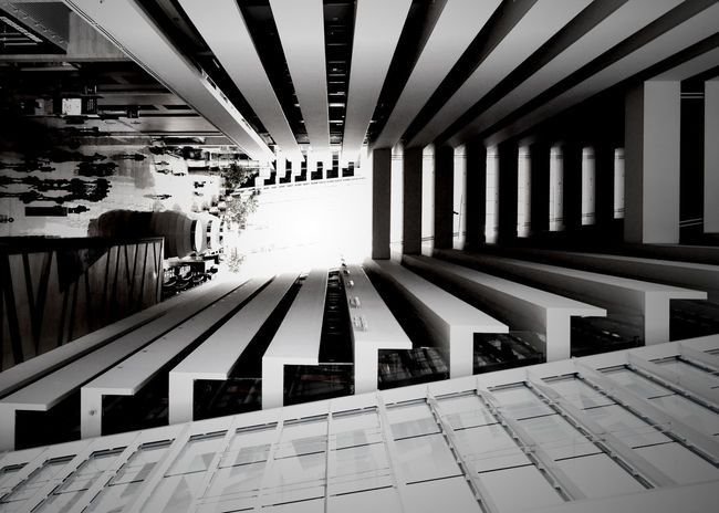 Rotated Building Photo Grayscale Miksang Perspective Twisted Vignette Abstract Architecture Art Balcon Balcony Built Structure Bw Day Indoors  No People Rotated Upsidedown