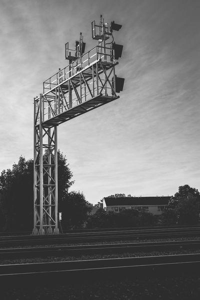 Built Structure Cloud - Sky Metal No People Outdoors Rail Transportation Railroad Signals Railroad Track Sky Track Train Train Station Transportation