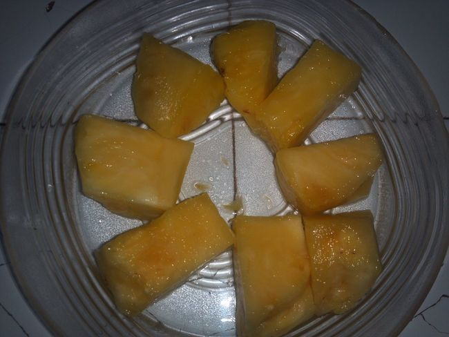 Afternoon snack.sweet pineapple,in my mouth