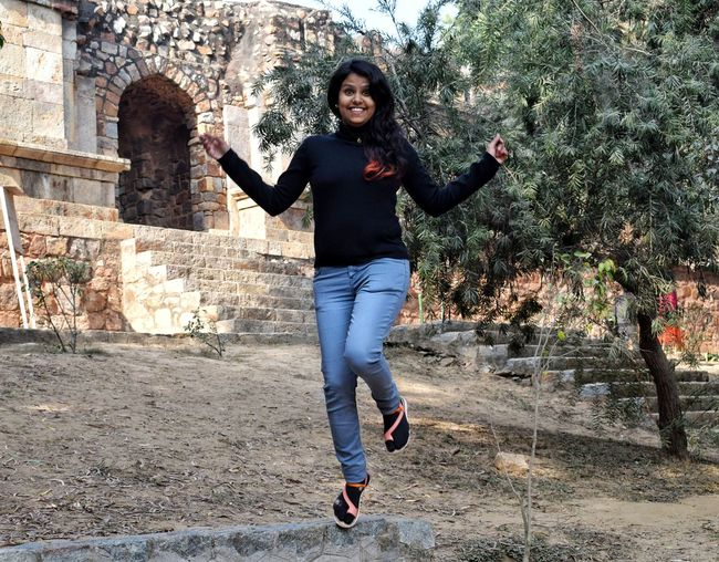 Full Length Jumping Vitality Mid-air Cheerful One Person Happiness Outdoors People Real People Day Motion City Smiling Portrait Adults Only Adult Young Adult Human Body Part Girljumping Girl Power EyeEmbestshots Eyeembestsellers Delhi LodhiGarden EyeEmNewHere