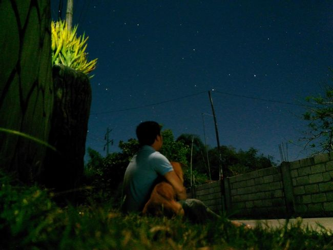 Me with my doggo Coco 🐕 ~ Sitting Night One Person Outdoors No Filter WeekOnEyeEm Personal Perspective Sky Doggo🐺 Nature Sideroad Stargazing Enjoying Life Grass And Sky Long Exposure First Eyeem Photo EyeEmNewHere EyeEm Best Shots Exceptional Photographs From My Point Of View Pets Connection EyeEm Masterclass