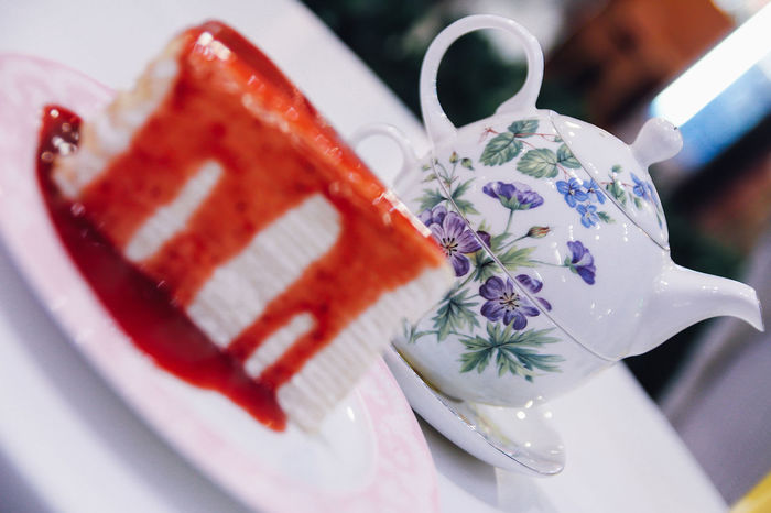 Crêpes Tea Bakery Cafe Cake Close-up Coffee Cup Dessert Drink Flower Food Food And Drink Freshness High Angle View Indulgence Plate Ready-to-eat Refreshment Serving Size Strawberry Sweet Food Table Tea Time Teapot