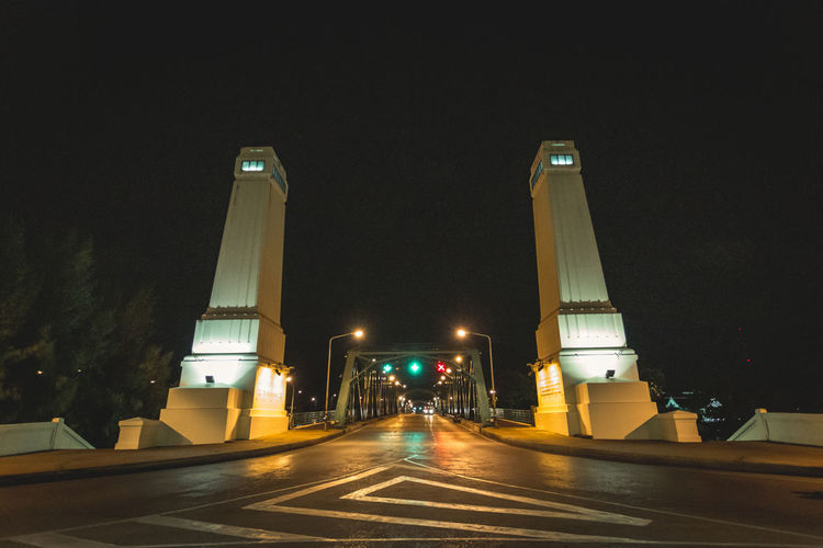 Phra Phuttha Yodfa Bridge, Memorial Bridge Bridge Night Architecture Road City Street Built Structure