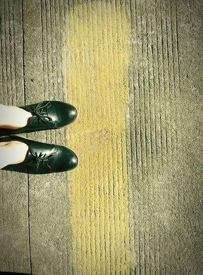 Black&Yellow Shoes On The Road Urban Urban Lifestyle