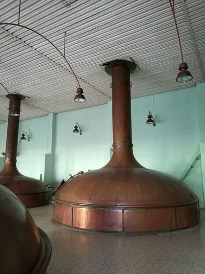 Brewing factory Indoors  Metal Lighting Equipment Hanging People Day Reflection Ceiling Electric Lamp Close-up Wall - Building Feature Brewery Tanks Beer Production Flooring Fermentation Tank Fermentation Vat Ferment Copper  Brewing Process Brewing Beer