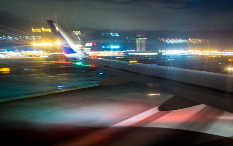 Air Airplaine Airport Airport Runway Lights Motion Night Taking Off